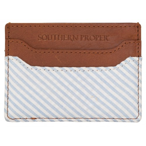 Proper Card Case - Blue/White Seersucker